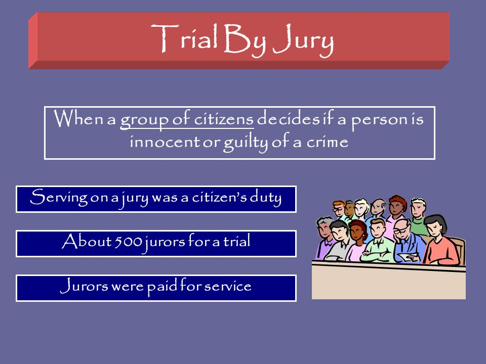 Trial By Jury When a group of citizens decides if a person is innocent or guilty of a crime. Serving on a jury was a citizen's duty.