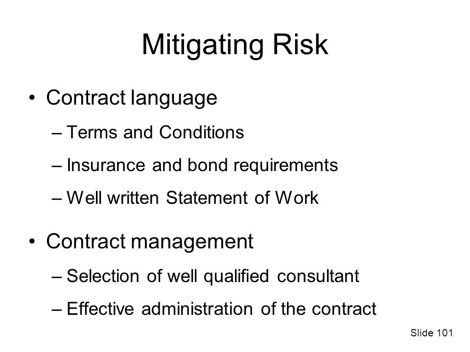 Mitigating Risk Contract language Contract management