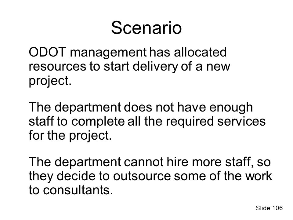 Scenario ODOT management has allocated resources to start delivery of a new project.