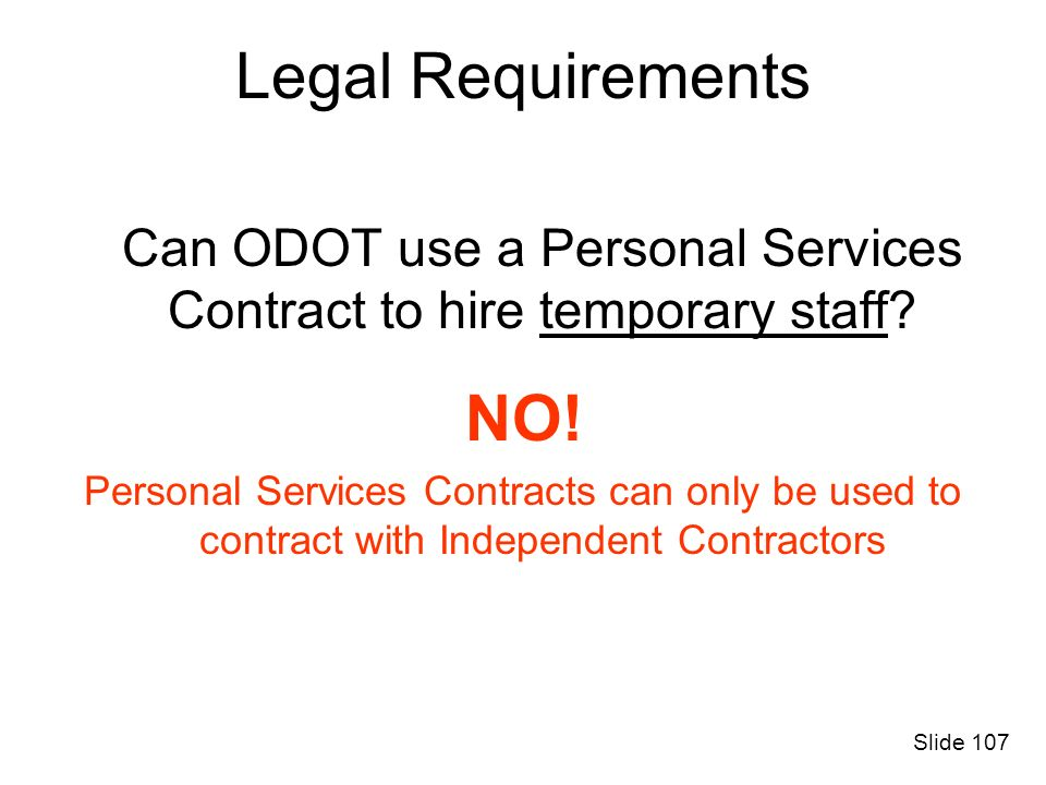 Can ODOT use a Personal Services Contract to hire temporary staff