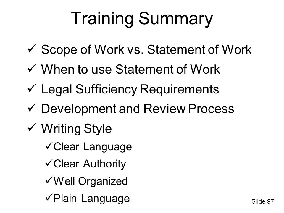 Training Summary Scope of Work vs. Statement of Work
