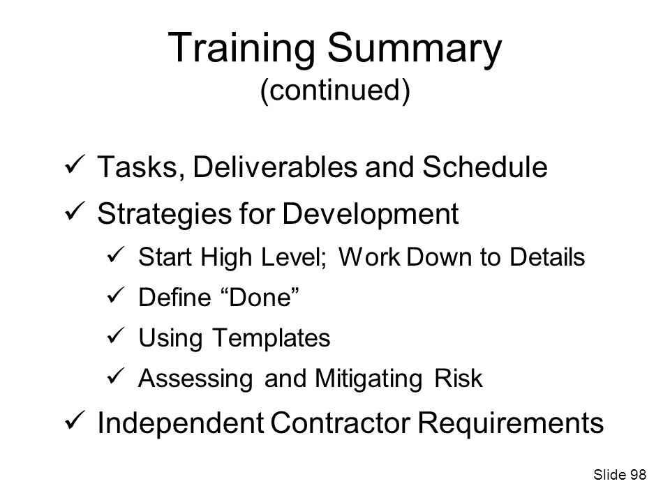 Training Summary (continued)