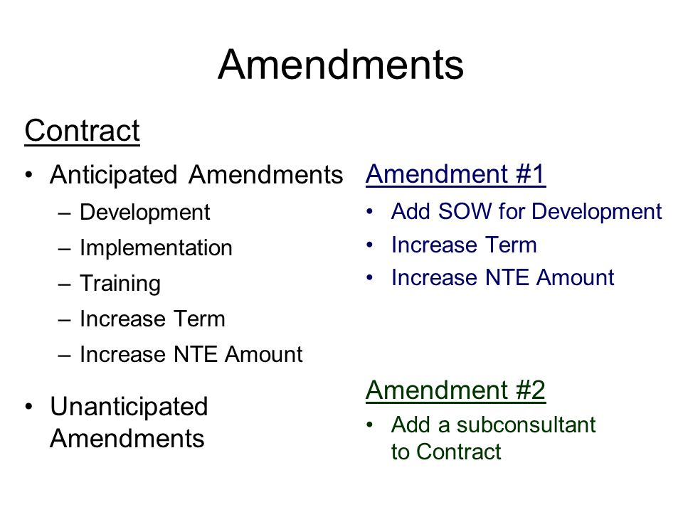 Amendments Contract Anticipated Amendments Amendment #1