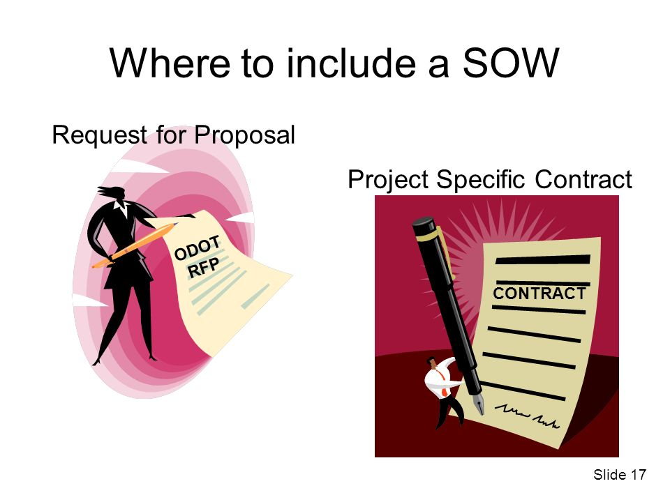 Where to include a SOW Request for Proposal Project Specific Contract