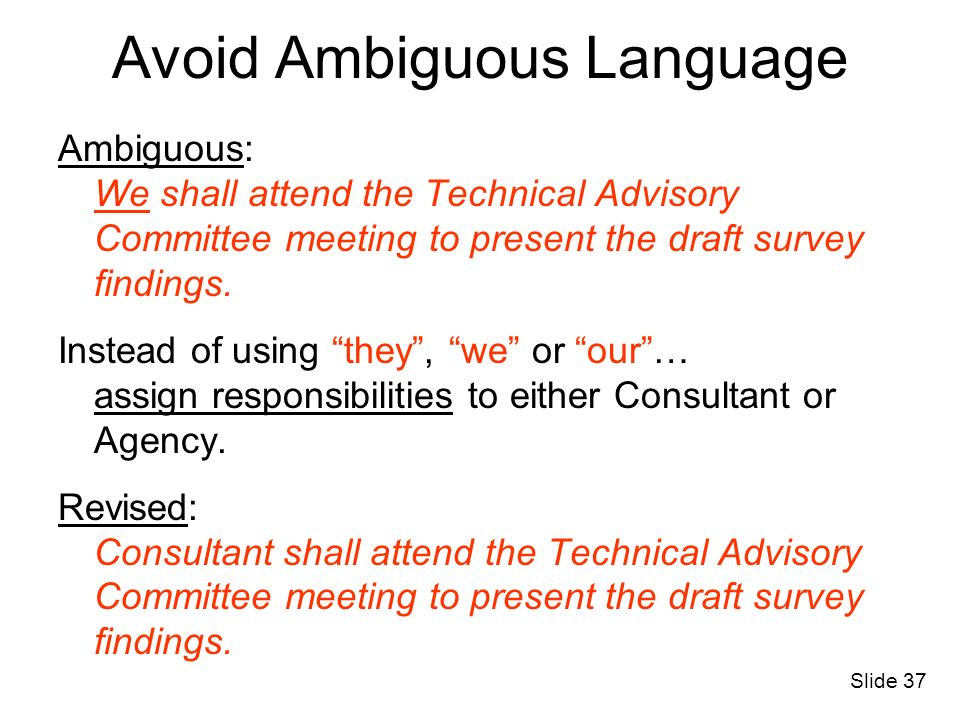 Avoid Ambiguous Language