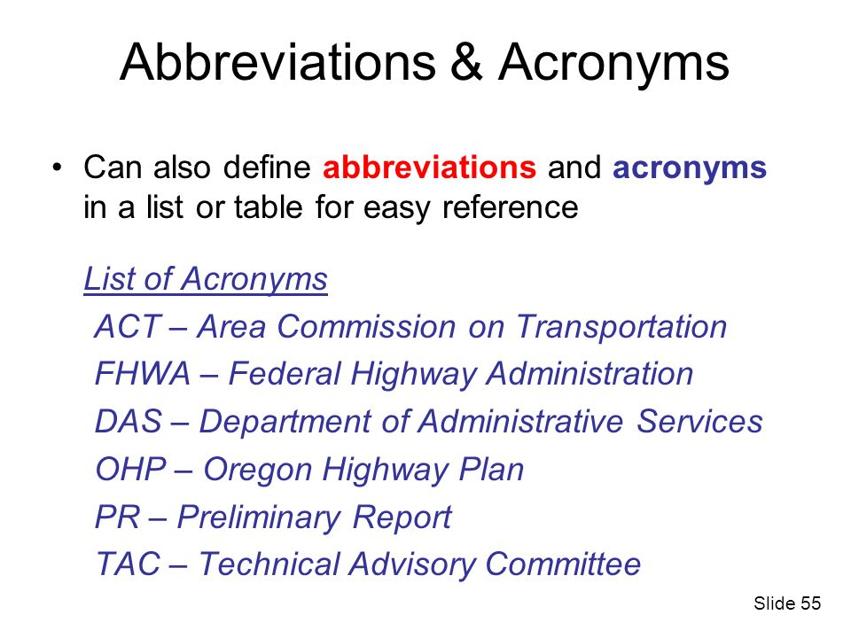 Abbreviations & Acronyms
