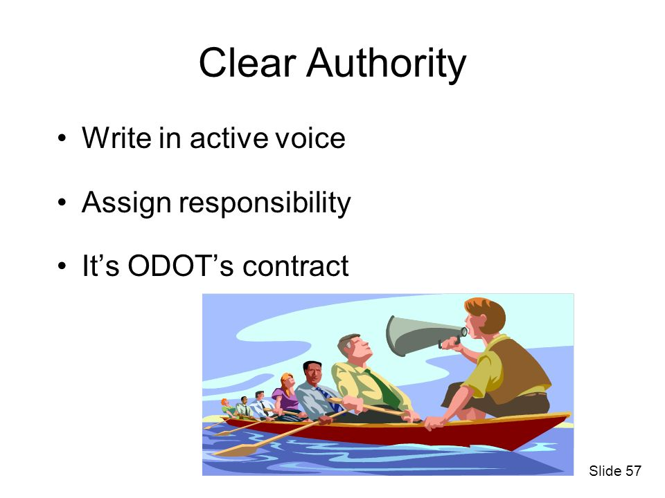 Clear Authority Write in active voice Assign responsibility