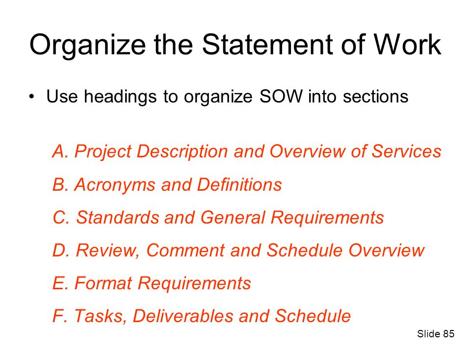 Organize the Statement of Work