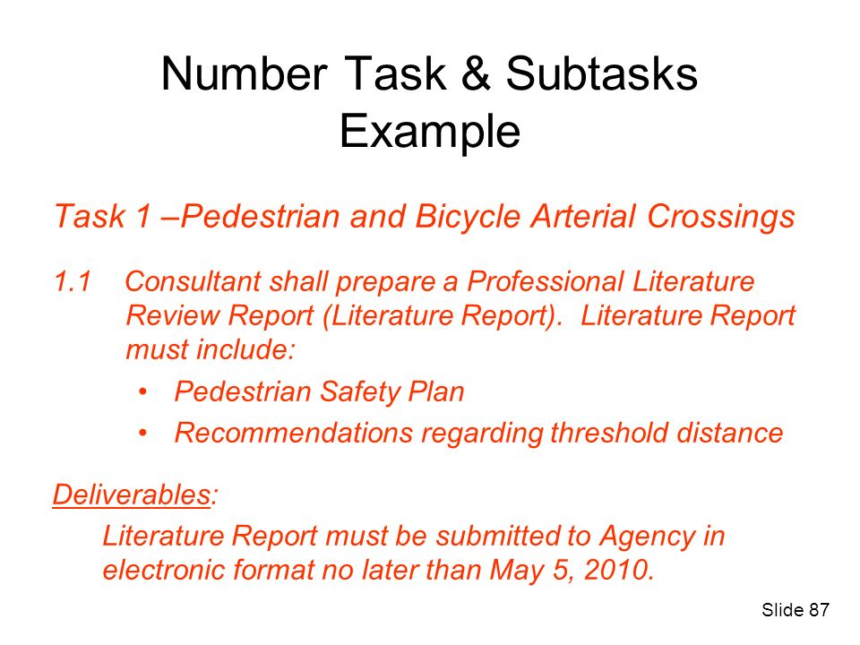 Number Task & Subtasks Example