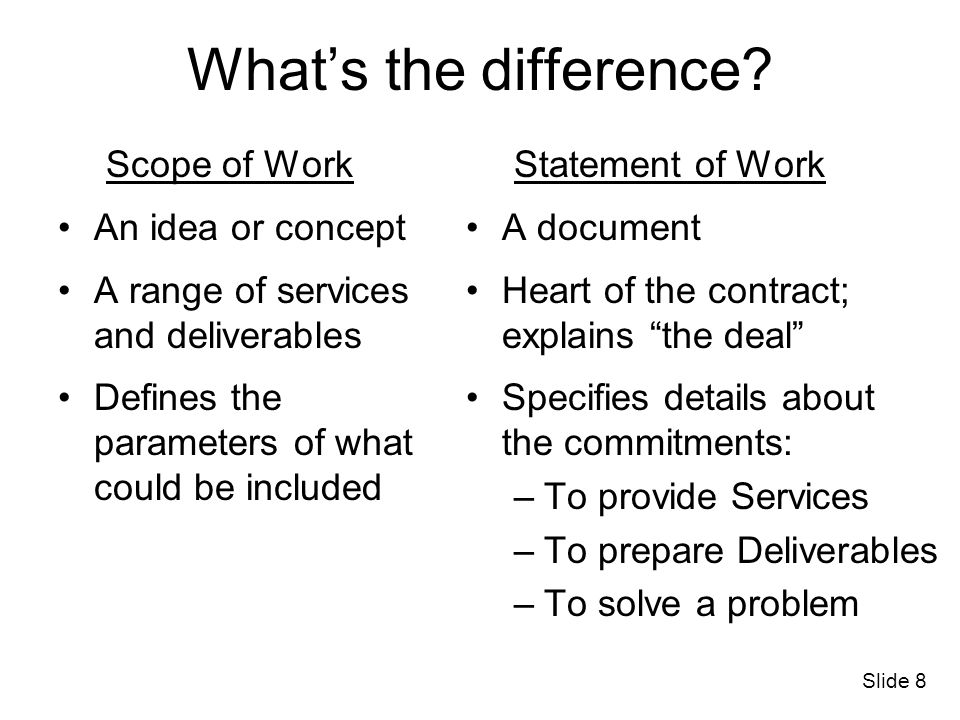 What's the difference Scope of Work An idea or concept
