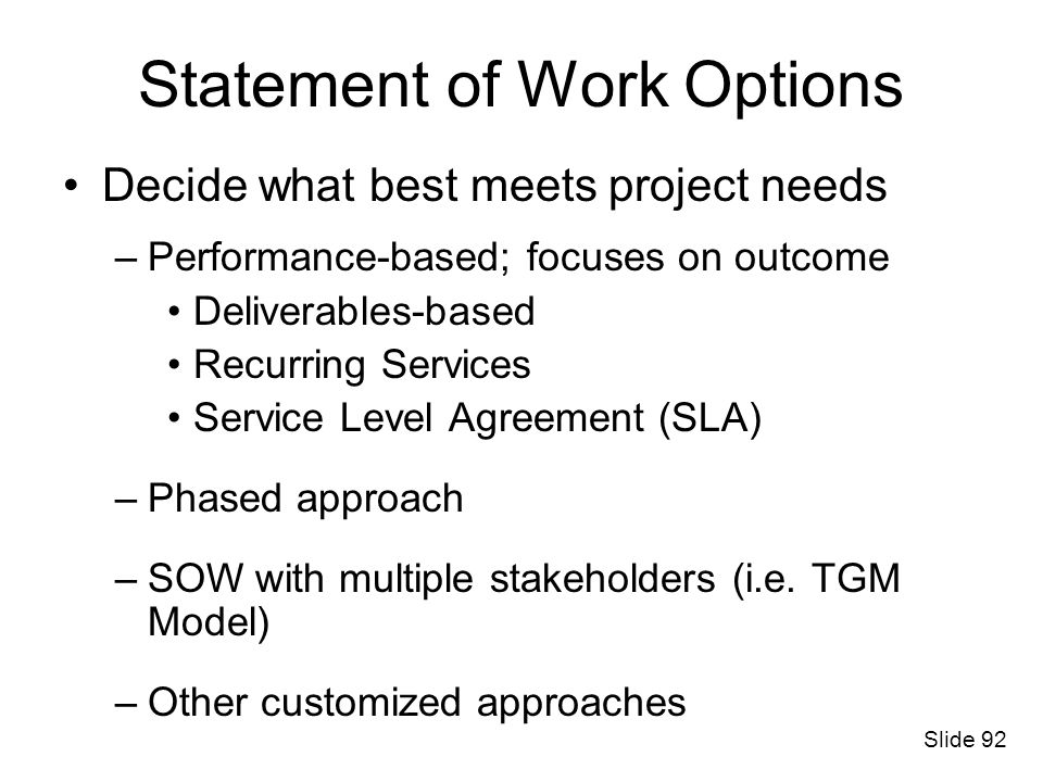 Statement of Work Options