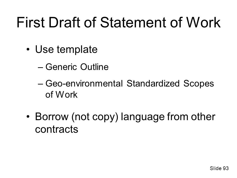 First Draft of Statement of Work