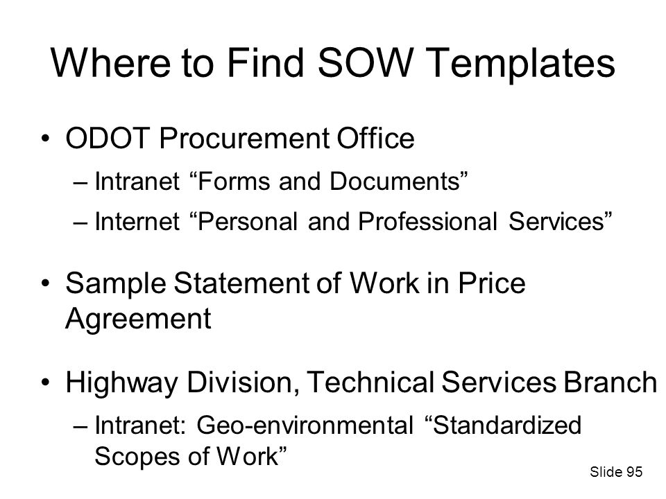 Statement Of Work For Personal Services Contracts - Ppt Download