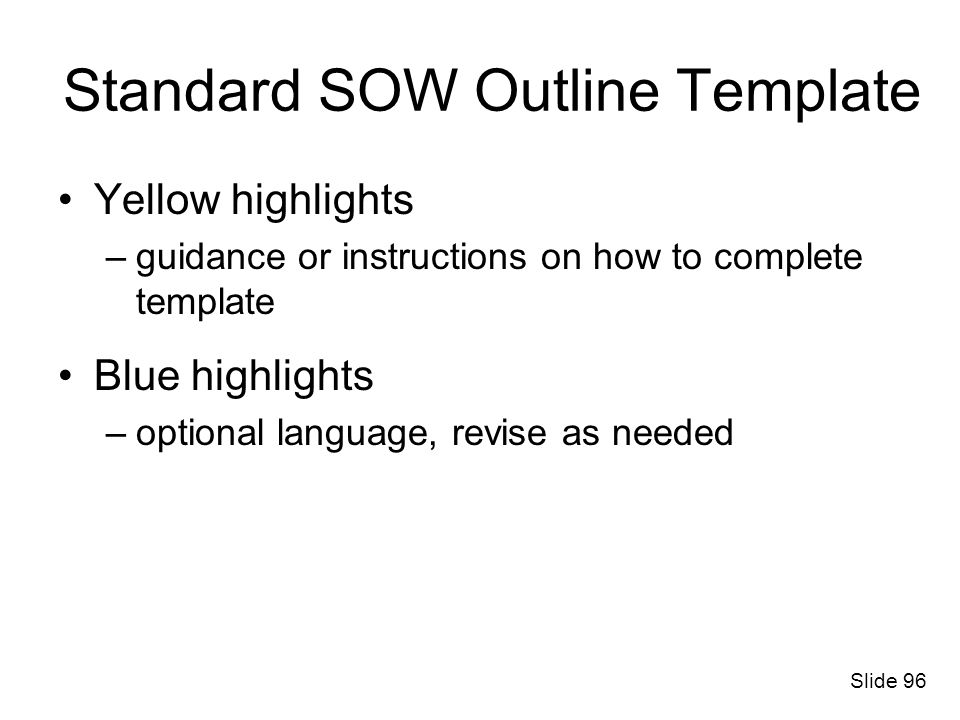 Standard SOW Outline Template