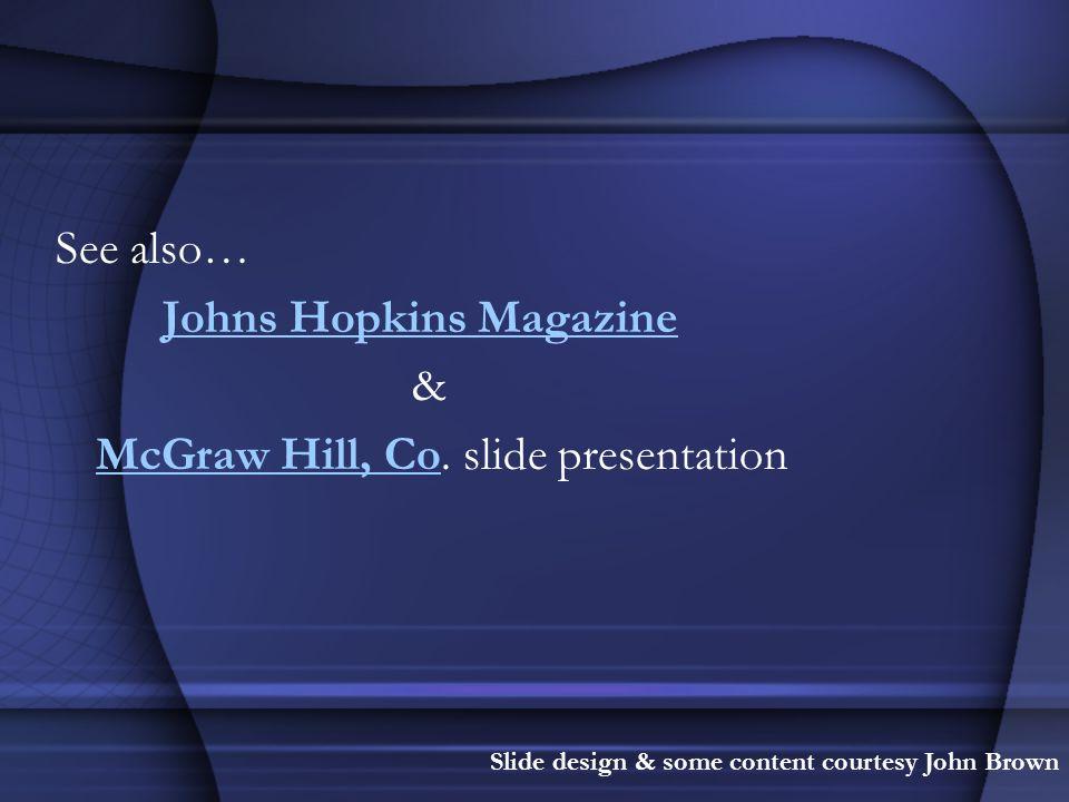 Johns Hopkins Magazine & McGraw Hill, Co. slide presentation