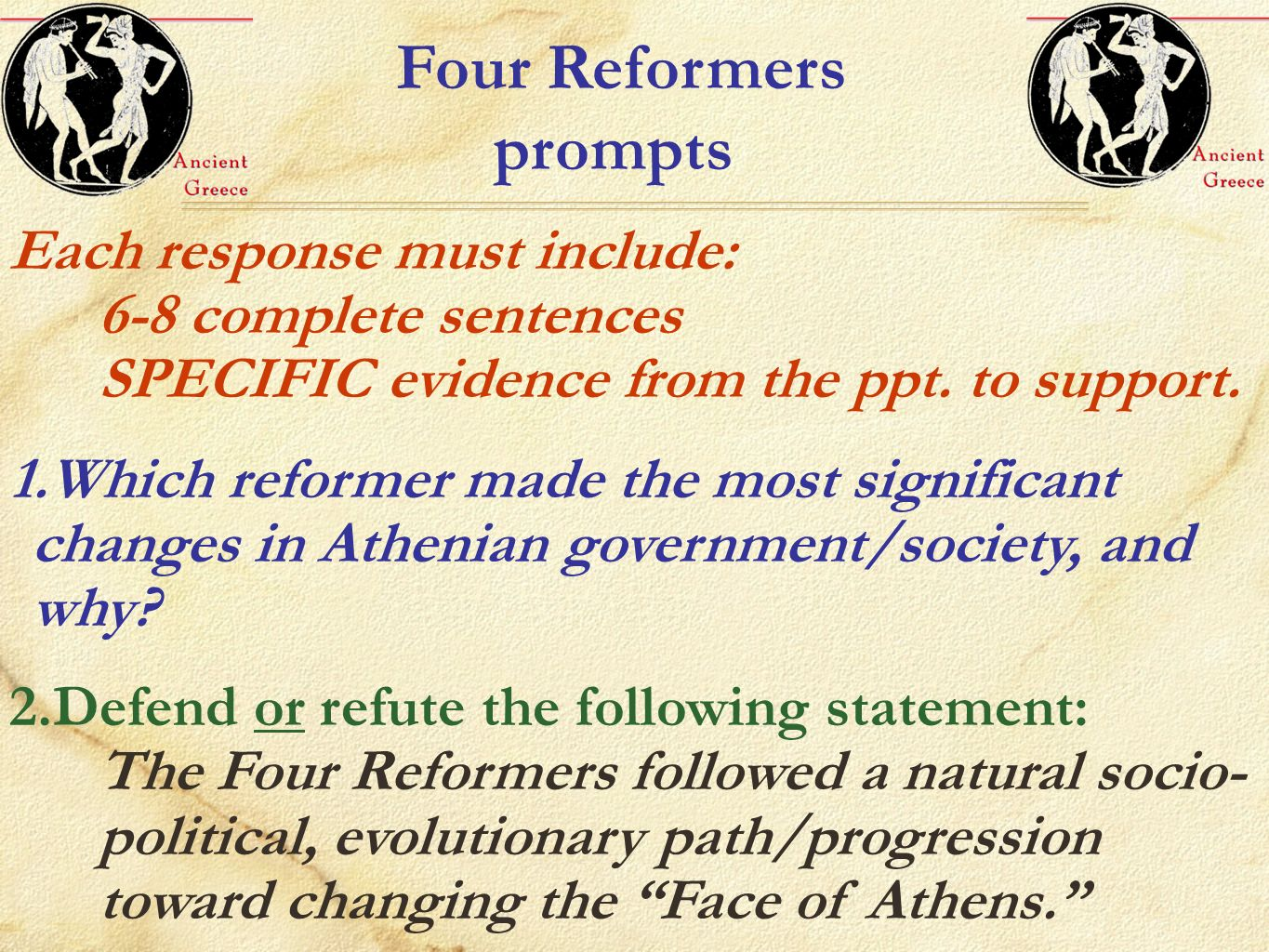 Four Reformers prompts
