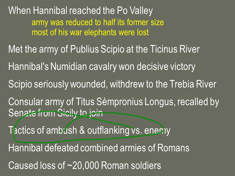 When Hannibal reached the Po Valley