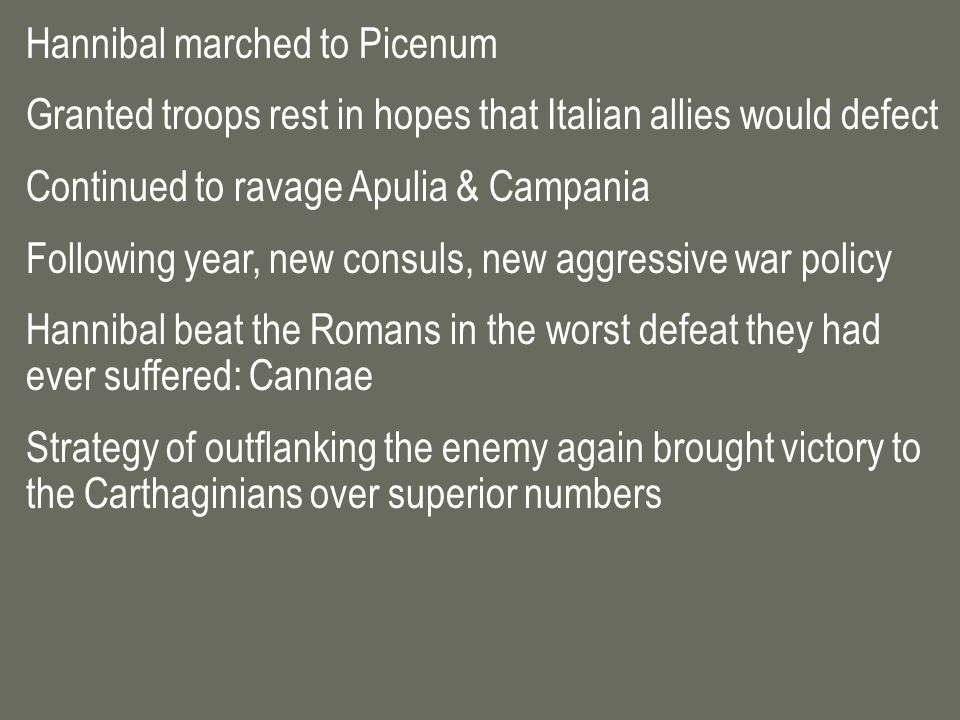 Hannibal marched to Picenum