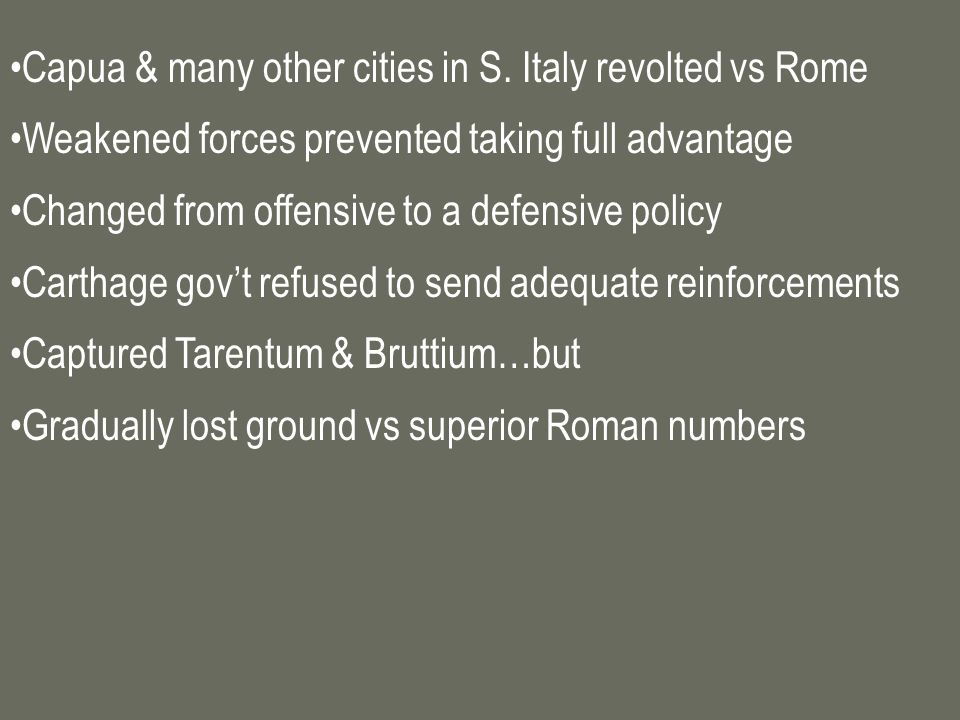 Capua & many other cities in S. Italy revolted vs Rome