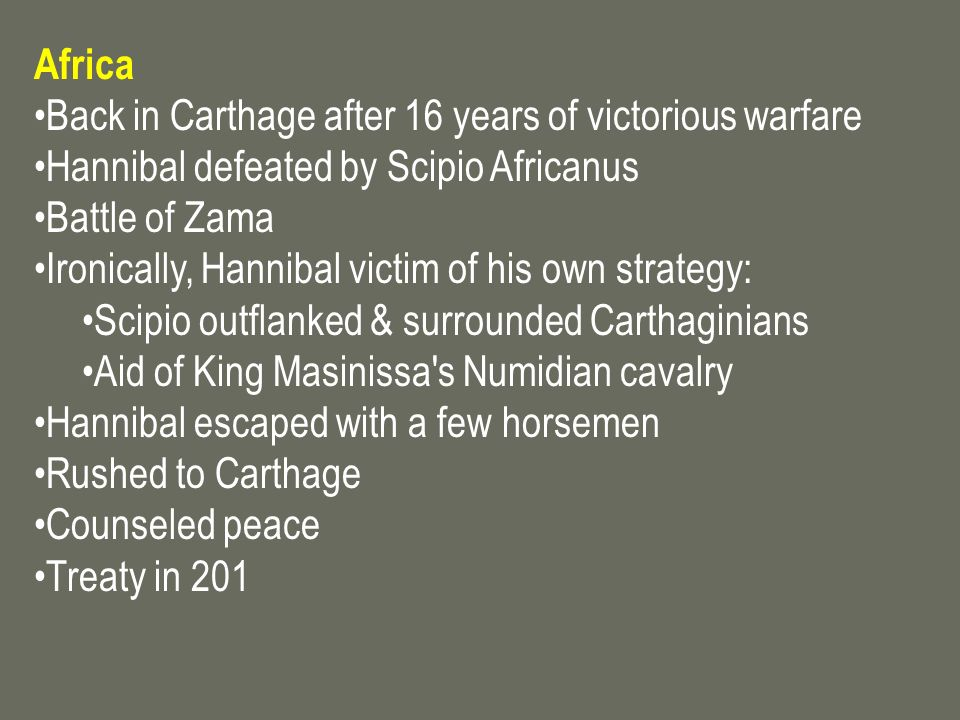 Africa Back in Carthage after 16 years of victorious warfare. Hannibal defeated by Scipio Africanus.