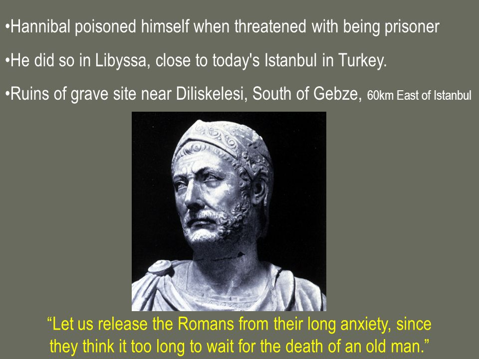 Hannibal poisoned himself when threatened with being prisoner