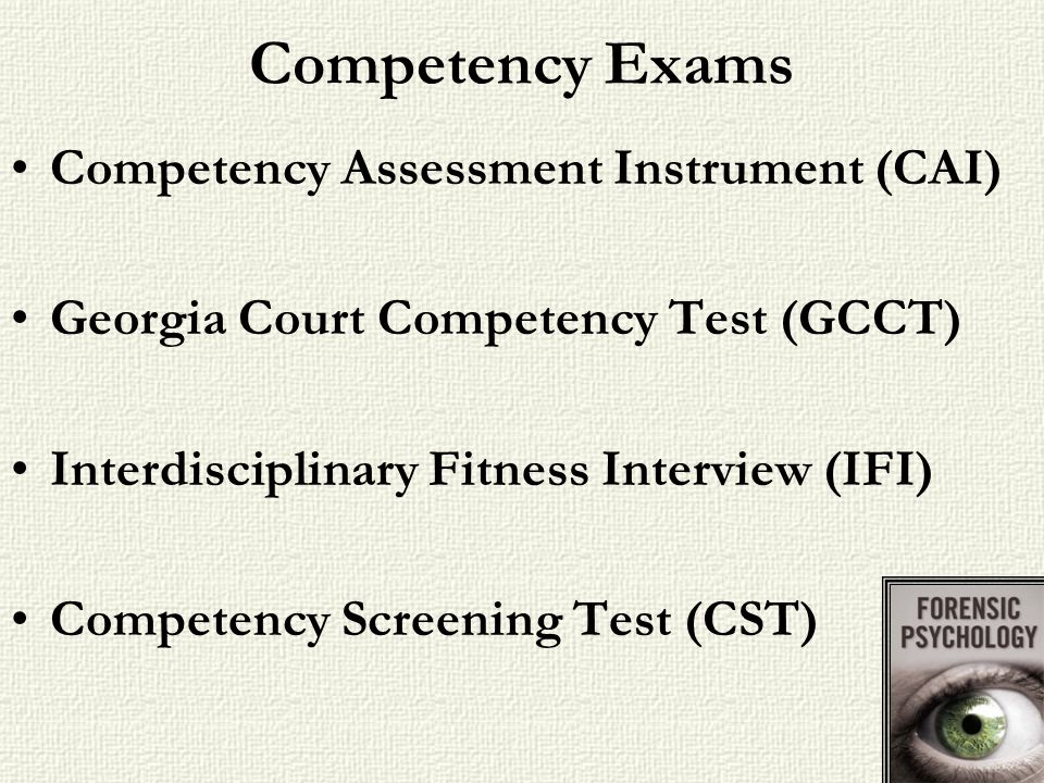 Competency Exams Competency Assessment Instrument (CAI)