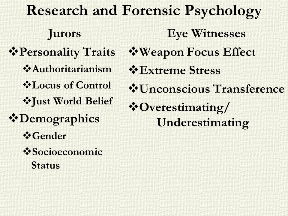 Research and Forensic Psychology