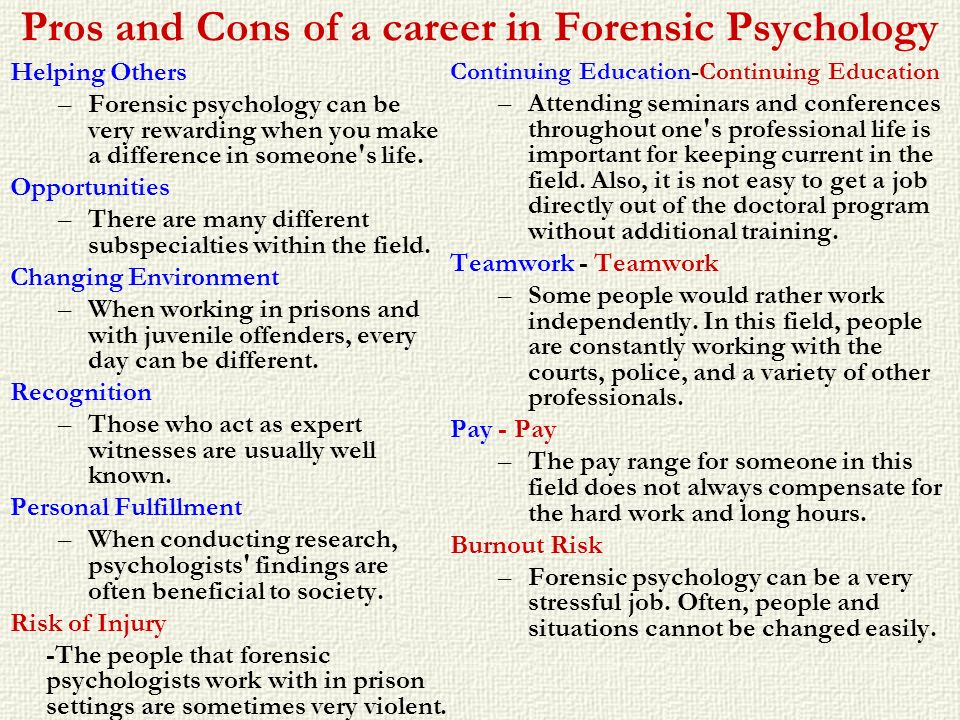 Pros and Cons of a career in Forensic Psychology