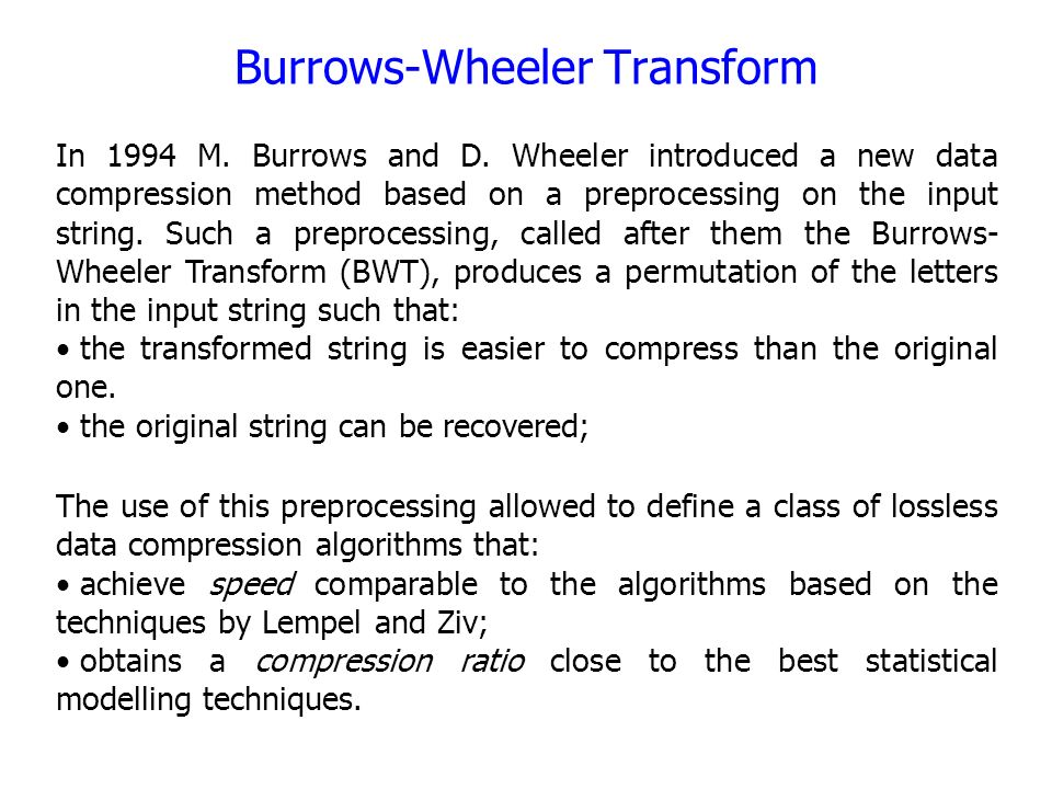 burrows wheeler transformation online