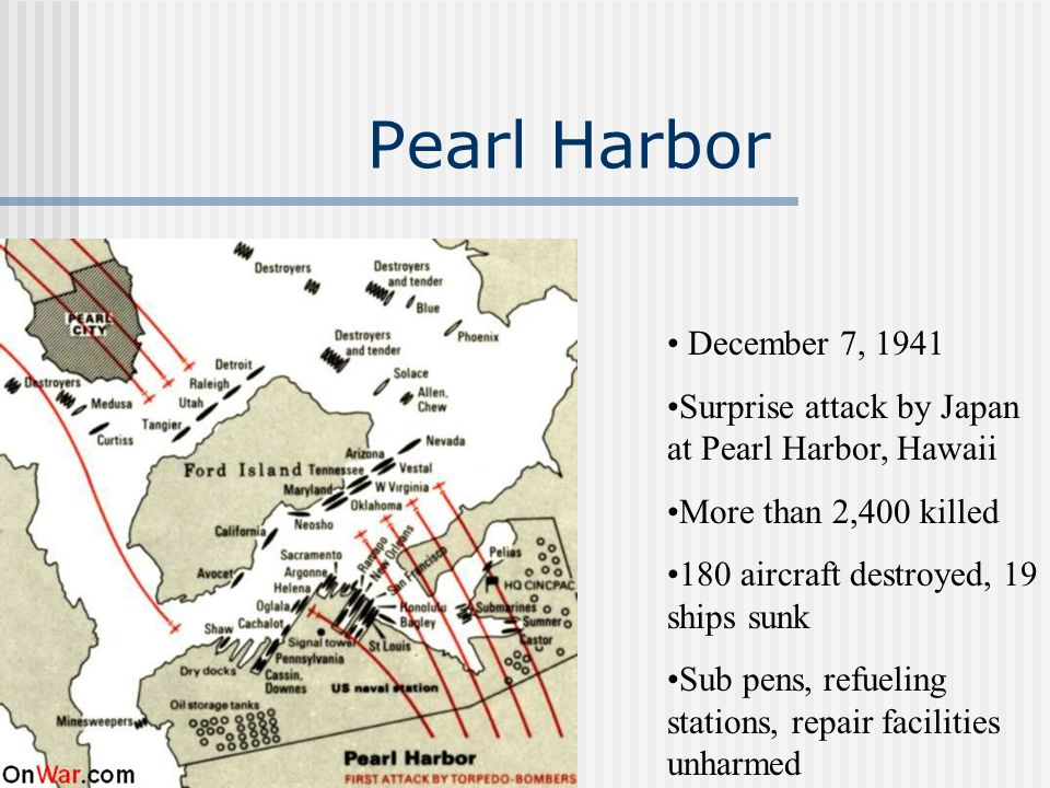 Pearl Harbor December 7, 1941. Surprise attack by Japan at Pearl Harbor, Hawaii. More than 2,400 killed.