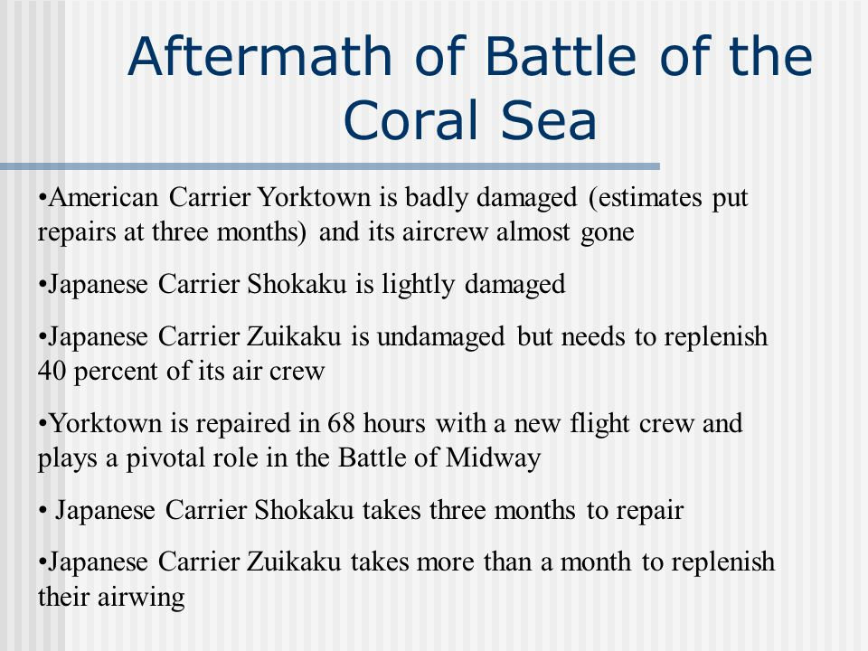 Aftermath of Battle of the Coral Sea
