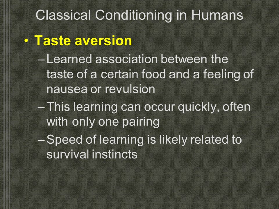 Classical Conditioning in Humans