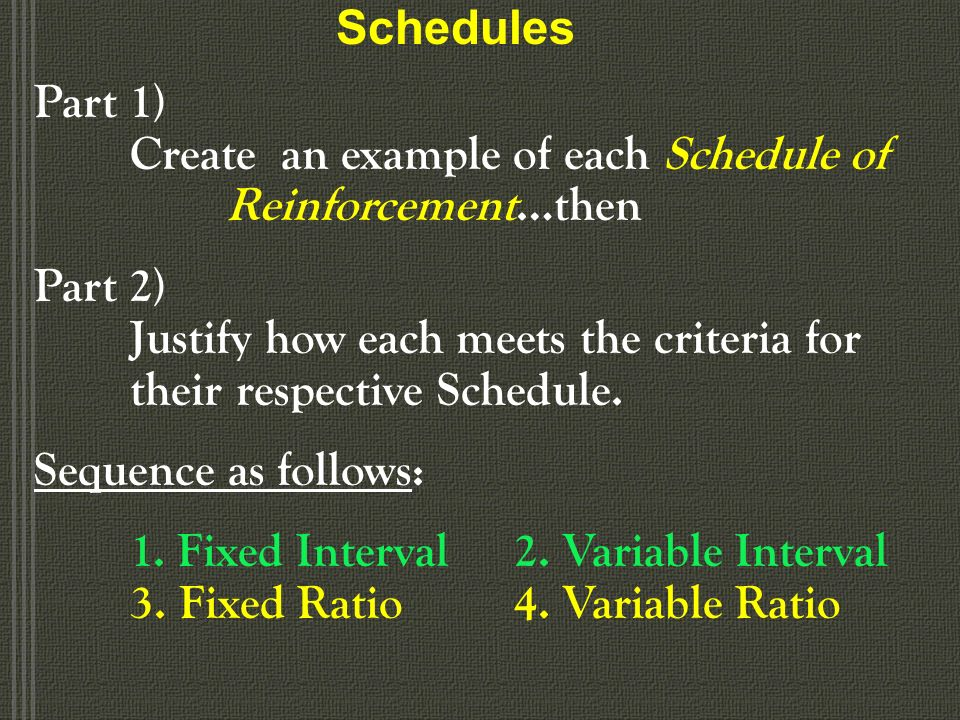 Schedules Part 1) Create an example of each Schedule of Reinforcement…then.