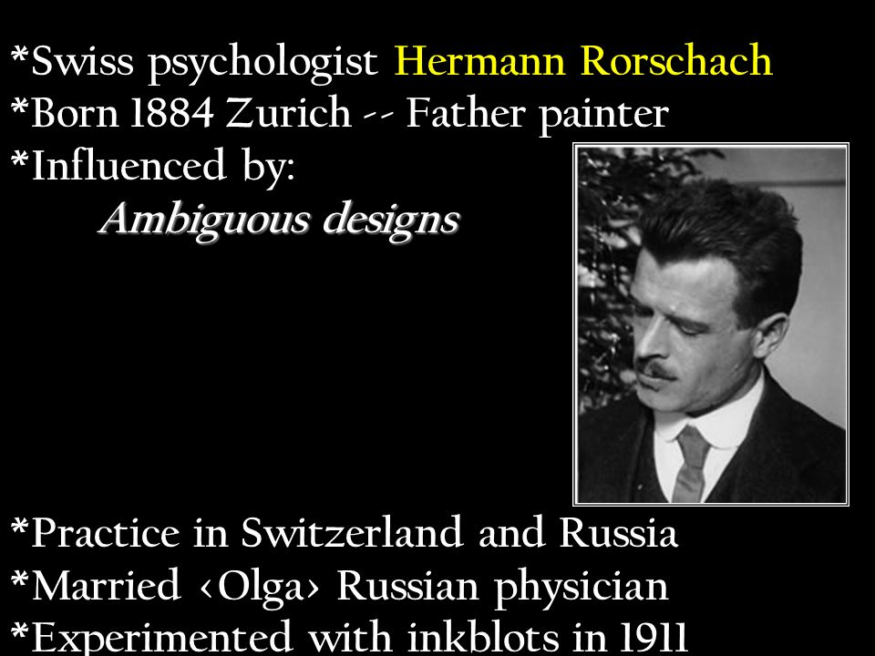 Swiss psychologist Hermann Rorschach