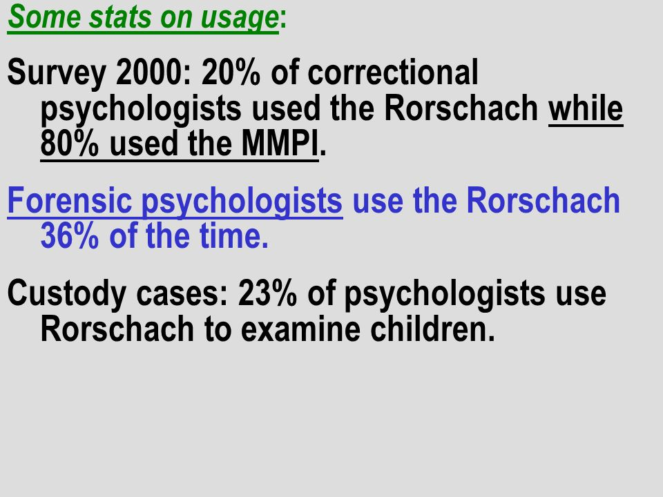 Forensic psychologists use the Rorschach 36% of the time.