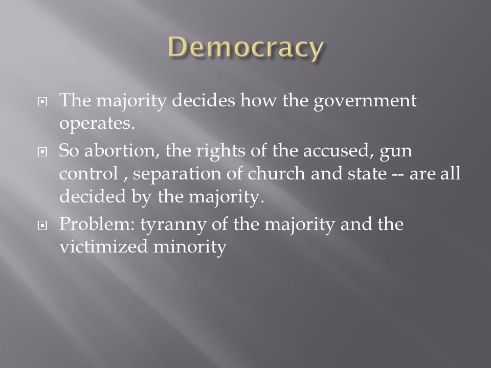 Democracy The majority decides how the government operates.