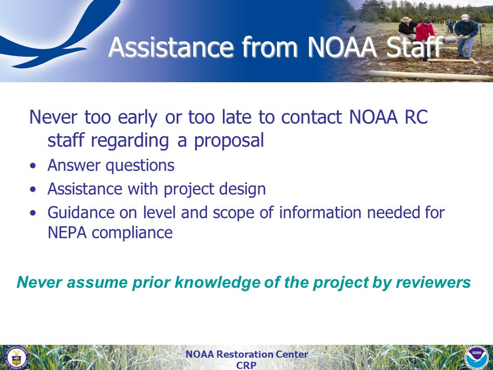 Assistance from NOAA Staff