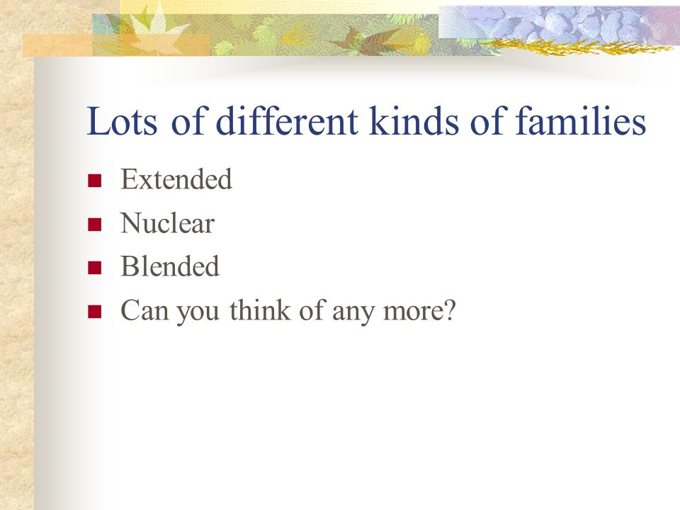 Lots of different kinds of families