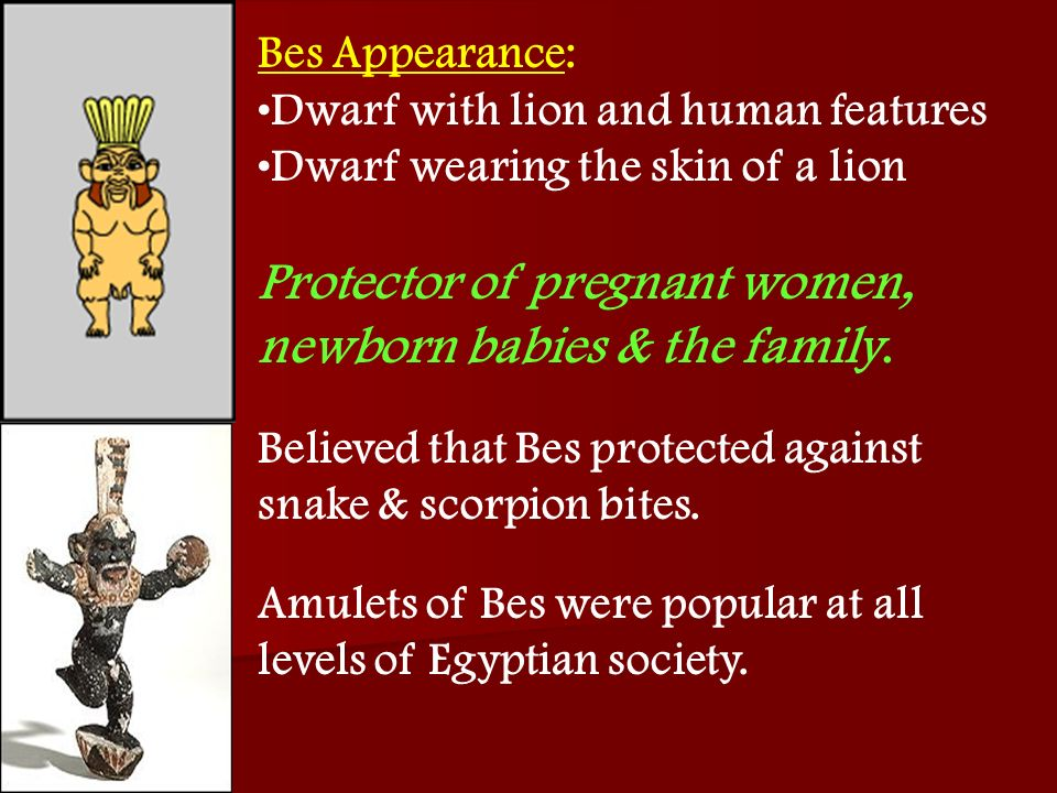 Bes Appearance: Dwarf with lion and human features. Dwarf wearing the skin of a lion. Protector of pregnant women, newborn babies & the family.