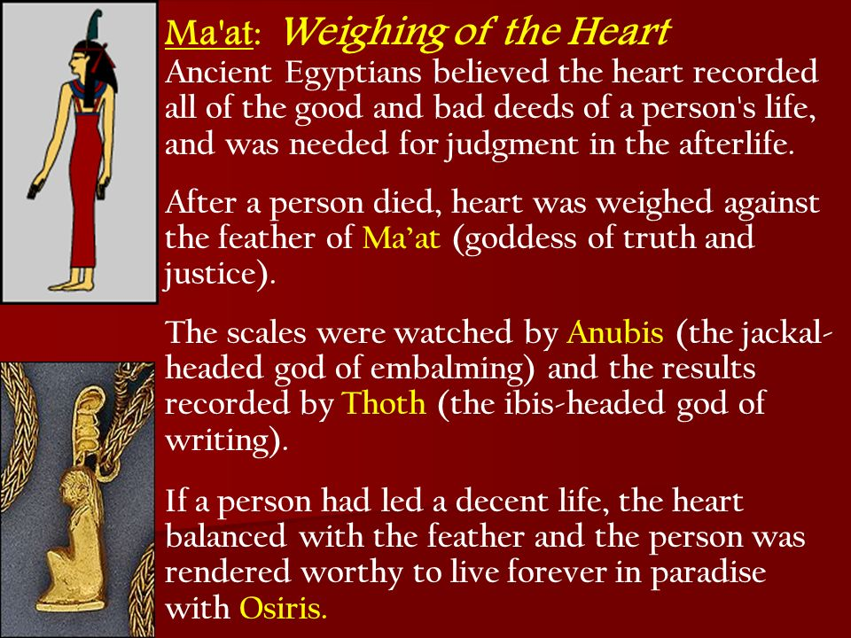 Ma at: Weighing of the Heart