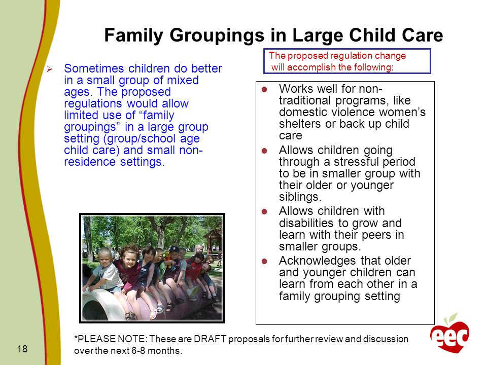 Family Groupings in Large Child Care