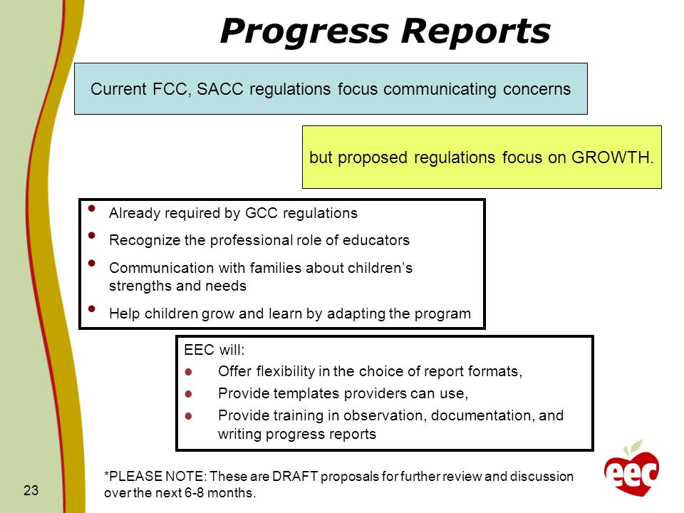 Progress Reports Current FCC, SACC regulations focus communicating concerns. but proposed regulations focus on GROWTH.
