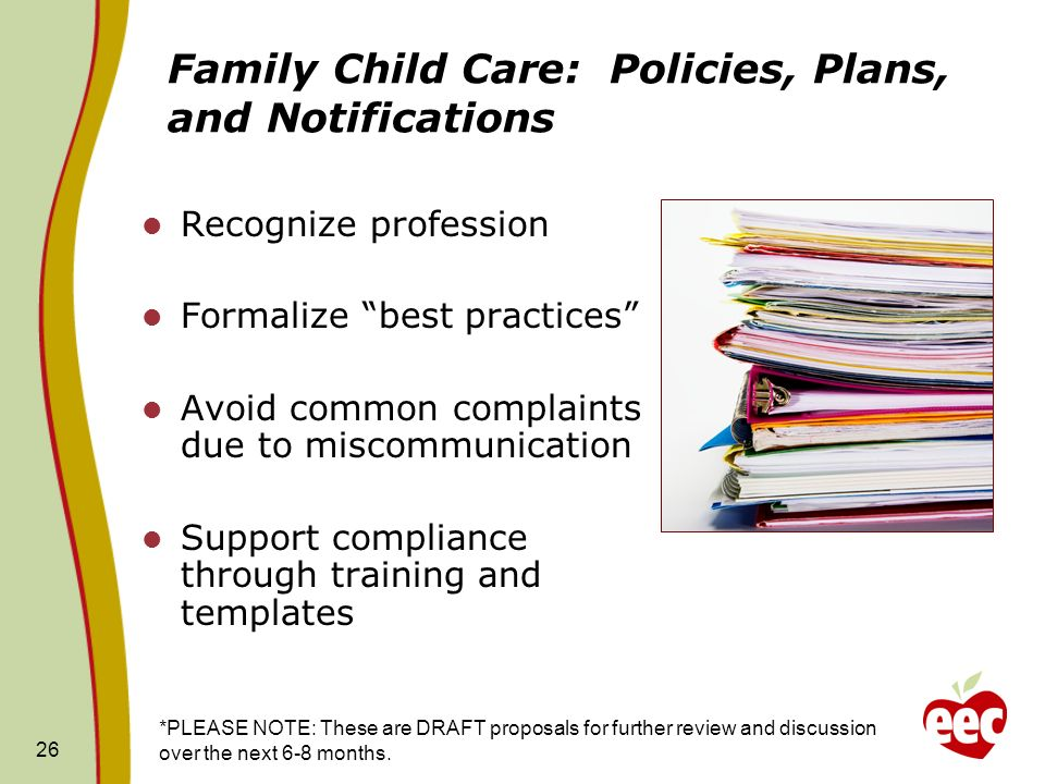 Family Child Care: Policies, Plans, and Notifications