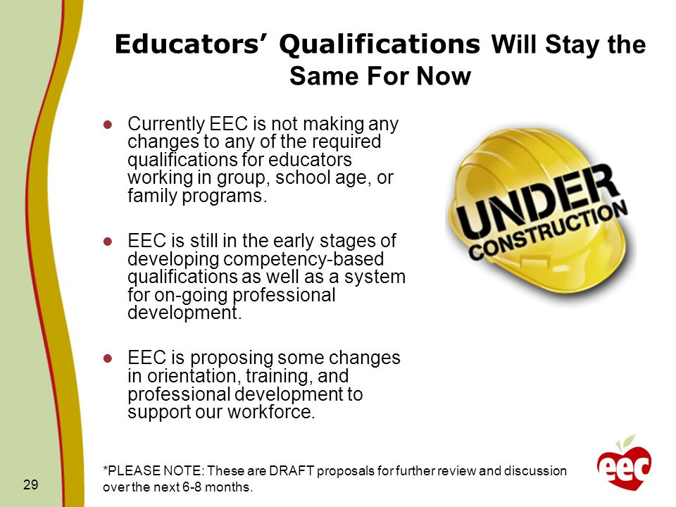 Educators' Qualifications Will Stay the Same For Now