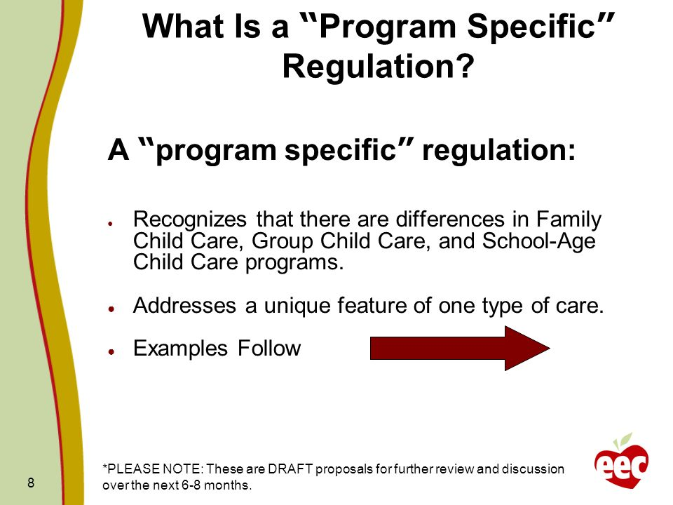 What Is a Program Specific Regulation