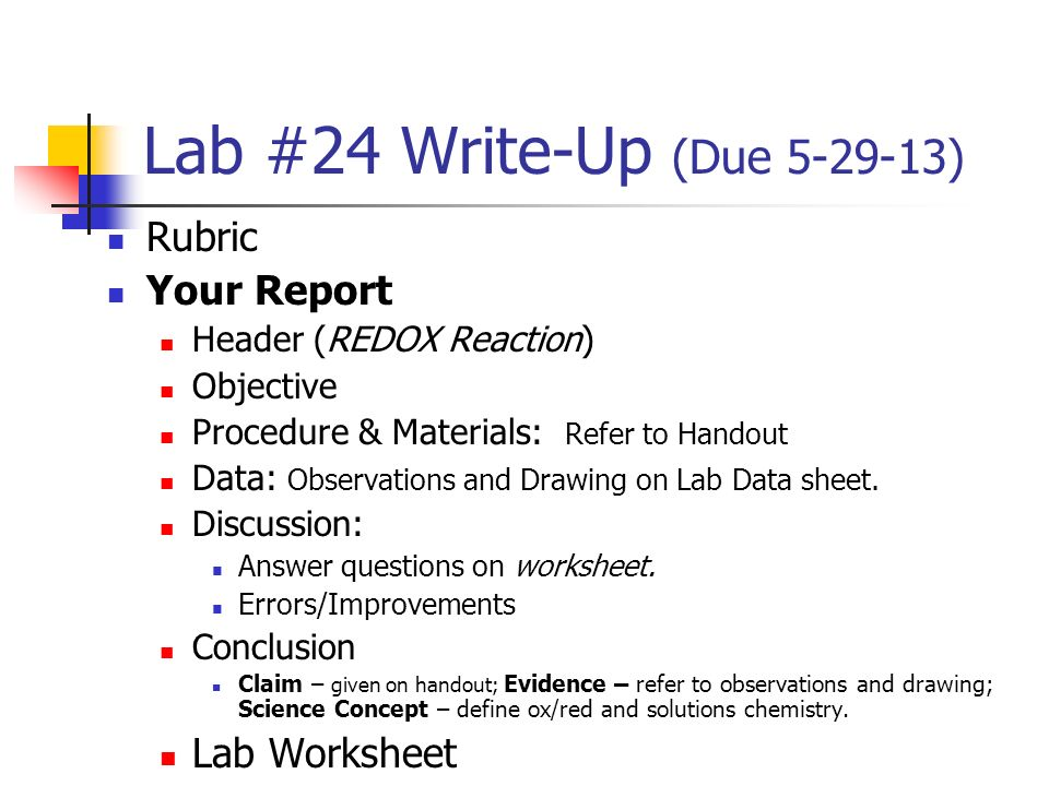 how to write a chemistry report
