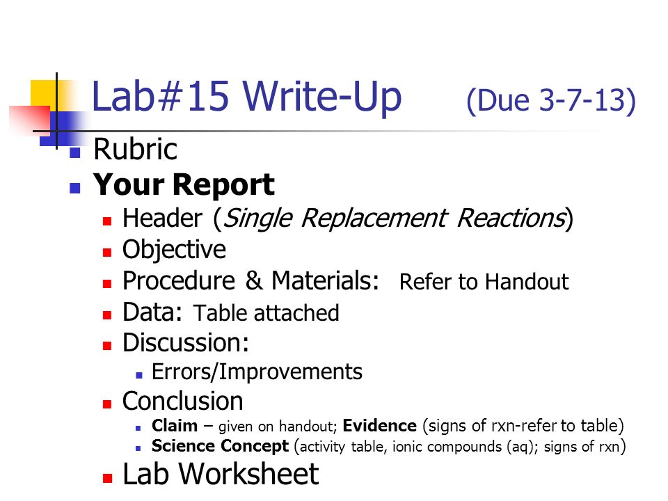 Lab 24 WriteUp Due Rubric Your Report Lab Worksheet ppt – Single Replacement Reaction Worksheet