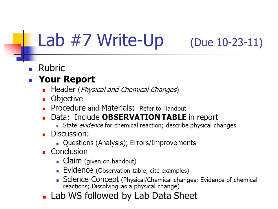 Writing A Lab Report    ppt video online download Uol    Lab Report Write Up