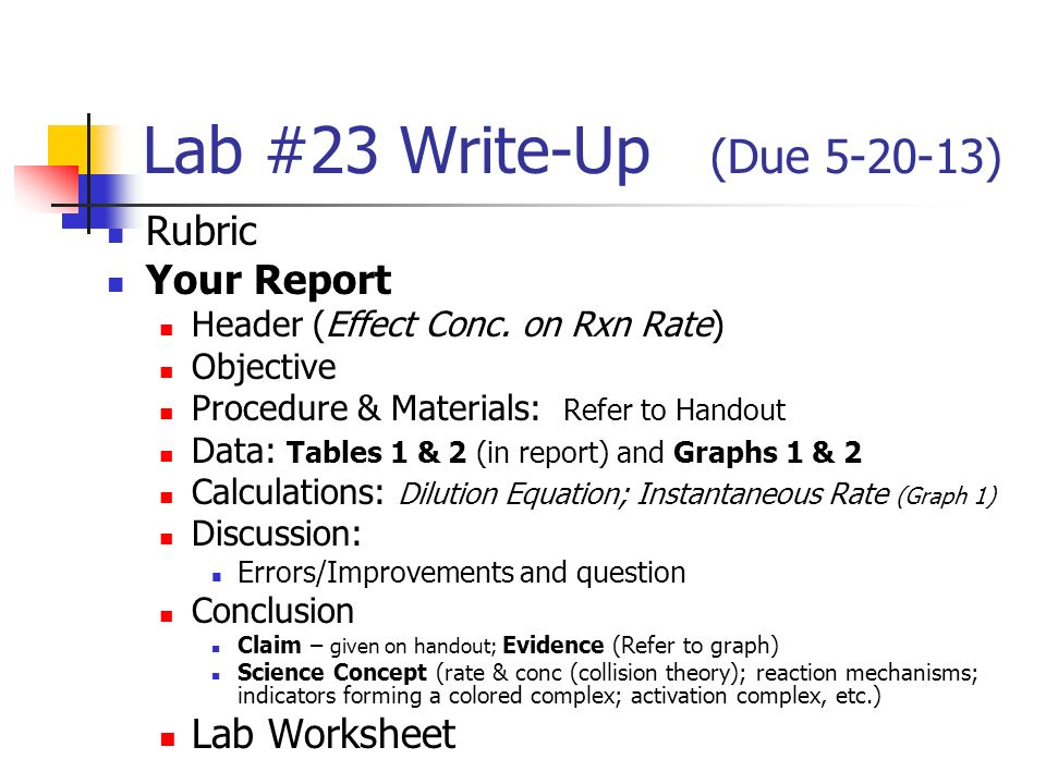 Lab 24 WriteUp Due Rubric Your Report Lab Worksheet ppt – Reaction Rate Worksheet