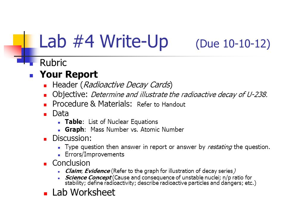 Lab 24 Write Up Due Rubric Your Report Lab Worksheet Ppt Video
